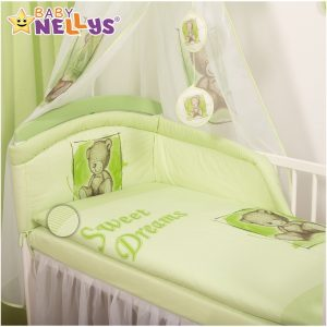 Baby Nellys Mantinel s obliečkami Sweet Dreams by Teddy – zelený
