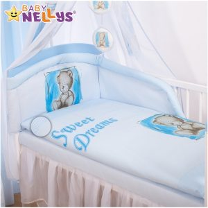 Baby Nellys Mantinel s obliečkami Sweet Dreams by Teddy – modrý