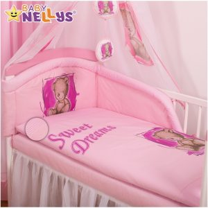 Baby Nellys Mantinel s obliečkami Sweet Dreams by Teddy – růžový